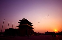 China, Beijing, Qianmen at the sunset