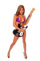Sexy latina rok and roll pinup with an electric guitarwearing a purple bikini.