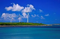 The beautiful scenery and windmill in Penghu, Taiwan