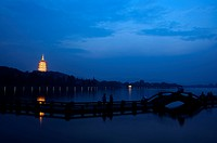Leifeng Pagoda in west lake at night, Hangzhou, Zhejiang Province