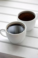 Close_up of two cups of coffee