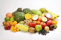 Close_up of a stack of different kinds of fruits and vegetables