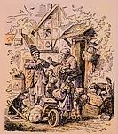 ÜF, Menschen hist., Berufe, Lumpensammler, colorierter Holzschnitt, Serie Bilder fürs Haus von Ludwig Richter, um 1870, Privatsammlung, Lumpen, Hadern...