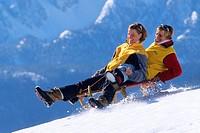 Schlittenfahrt in alpiner Umgebung