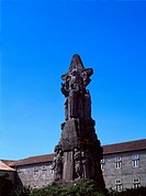 Galicia Spain Santiago De Compostela Monument To St Francis of Assisi Christ On Cross &amp; Saint In Front