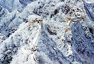 Jiankou Great Wall under snow, Xizhazi Village, Huairou County, Beijing, China
