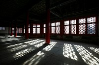 Empty interior of Hall of Military Eminence, Forbidden City, Beijing, China