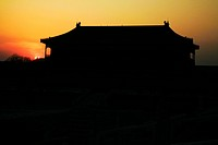 Pavilion of Glorifying Righteousness at sunrise, Forbidden City, Beijing, China
