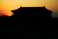 Pavilion of Glorifying Righteousness at sunrise, Forbidden City, Beijing, China