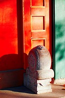 Elaborately carved stone Mendun in front of a courtyard home, Heizhima Hutong, Beijing, China