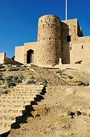 historic adobe fortification, Al Khabib fort or castle, Hajar al Gharbi Mountains, Dhakiliya Region, Sultanate of Oman, Arabia, Middle East""