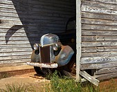 old farm truck in shed