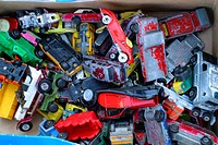 a box of old toy cars at the Camberwell Market Melbourne.Photography David Ewing