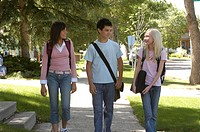 Teenagers walking together