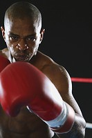 African boxer in fighting stance