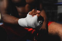 Boxer's hand wrapped in bandage