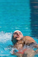 Australian athlete doing backstroke