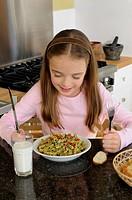 Little girl pasta meal