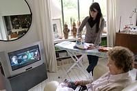 Woman ironing help
