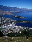 View from Ben Lomond over Queenstown on Lake Wakatipu in the Otago Region of South Island