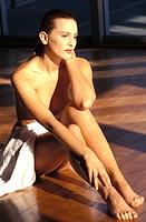 Naked woman thinking