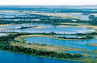 Pantanal wetland, Brazil, aerial photograph. The Pantanal is the largest wetland area in the world, covering an area of 150,000 square kilometres. It ...