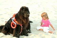 Little girl with the dog