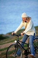 Woman bike nature