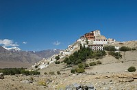 Monastery on mountains, Thiksey Monastery, Ladakh, Jammu and Kashmir, India