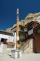 Prayer flag in front of a monastery, Tak Thog Monastery, Ladakh, Jammu and Kashmir, India