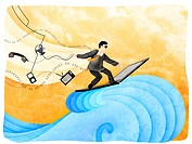 Businessman surfing the net