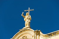 Low angle view of a statue on a church, Our Lady of Victory Church, Naxxar, Malta