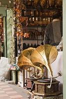 Antique gramophones at a store, New Delhi, India