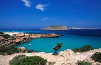 Resort at coast, Cala Comte, Ibiza, Balearic Islands, Spain
