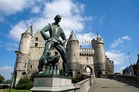 Belgium _ Flanders _ Antwerp _ The Steen _ Fortified castle _ National Museum of Navigation _ The giant Lange Wapper