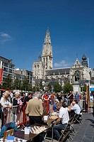 Belgium _ Flanders _ Antwerp _ View on the Groenplaats Green Square and Our Lady's cathedral Onze_Lieve_Vrouwekathedraal _ Chess players