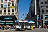 Belgium _ Flanders _ Antwerp _ The Meir _ Shopping _ Pedestrian avenue _ Tramway