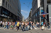Belgium _ Flanders _ Antwerp _ The Meir _ Shopping street _ Pedestrian Crossing