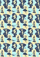 illustrated pattern featuring women