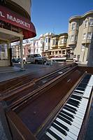 Old piano stranded in the middle of a San Francisco street
