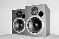 Pair of silver speakers