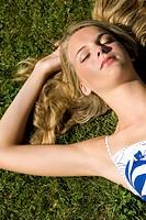 Teenage girl nature nap