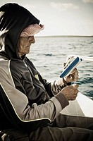 fishing, old lady, working