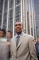 African American businessman in urban scene