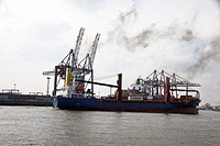 Container ships in the port of Hamburg in Germany, Europe