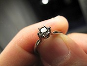 A diamond ring in the finger