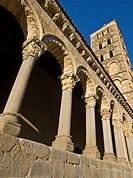 Portico and bell tower of the Romanesque church of San Esteban - XIII Century - Segovia - Castilla-León - Spain