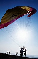 , Paraglider waiting to take off  Los Alcores, Almerimar, El Ejido  Almeria province  Andalusia  Spain