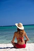 Woman sun beach