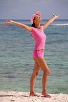 Woman beach well being